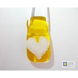 Yellow glass light catcher with white heart