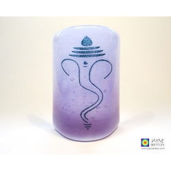 Ganesh Sconce - curved fused glass screen - violet purple