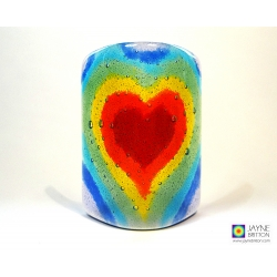 Rainbow Heart Sconce - curved fused glass panel