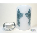 Angel Wings Sconce - curved fused glass panel - blue and white