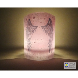 Angel Wings Sconce - curved fused glass panel - purple and blue