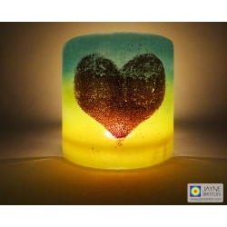 Heart Sconce - curved fused glass panel - sparkling gold heart