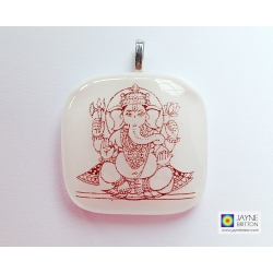 Ganesh pendant - white - Elephant God - remover of obstacles