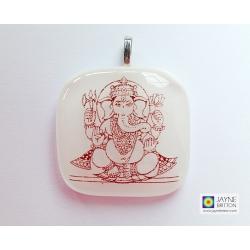 Ganesh pendant - white - Elephant God - remover of obstacles
