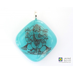 Ganesh pendant - turquoise blue - diamond shape