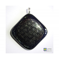 Platinum Flower of Life pendant - sparkling peacock/mermaid shades