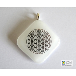 Platinum Flower of Life pendant - white fused glass