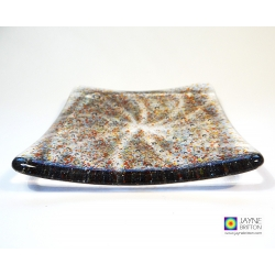 Fused glass Vortex plate - all chakra colours