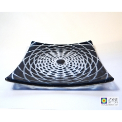 Fibonacci spiral fused glass plate - indigo blue