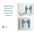 Gift set - Sconce and coaster - deep blue Angel wings on white