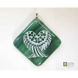Angel wings pendant - sparkling green fused glass
