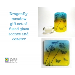 Gift set - Sconce and coaster - Dragonfly summer meadow