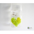 Lime green blended fused glass heart light catcher