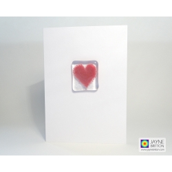Fused glass greeting card - pink heart - blank inside