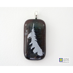 Feather pendant - sparkling fused glass