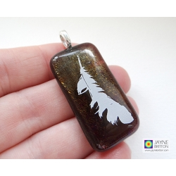 Feather pendant - sparkling bronze fused glass