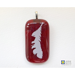Feather pendant - sparkling red fused glass