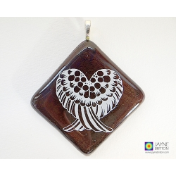 Angel wings pendant - sparkling bronze glass - diamond shape