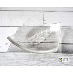 White feather - hand painted bowl in clear glass