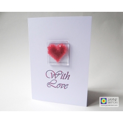 Fused glass greeting card - pink heart - blank inside - With Love
