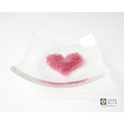 Pink heart bowl in clear glass