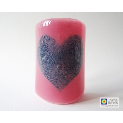 Bubbly Heart Sconce - curved glass panel - pink blend