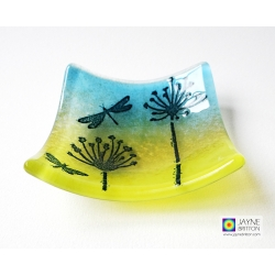 Dragonfly meadow bowl in blue and yellow