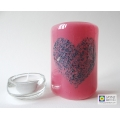 Bubbly Heart Sconce - mini light and candle screen - pink blend - option 6