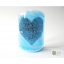 Bubbly Heart Sconce - mini light and candle screen - blue white blend
