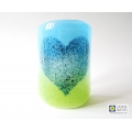 Bubbly Heart Sconce - curved fused glass panel - blue and green blend