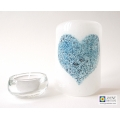 Bubbly Heart Sconce - mini light and candle screen - white - option 2