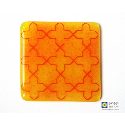 Breath of Compassionate pattern coaster - red on yellow and orange background