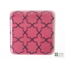 Breath of the Compassionate pattern coaster - deep blue on pink
