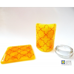 Gift set: Breath of the Compassionate - sacred geometry pattern - fused glass curved panel and coaster