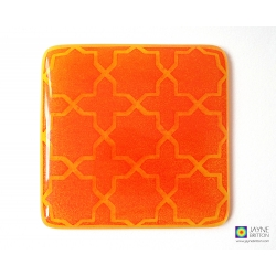 Breath of the Compassionate coaster - subtle red on yellow and orange