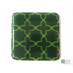 Breath of the Compassionate coaster - deep blue on green