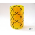 Breath of the Compassionate - sacred geometry pattern sconce - light and candle screen - deep indigo blue on yellow orange blend