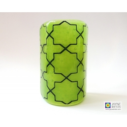 Breath of the Compassionate - sacred geometry pattern sconce - curved fused glass screen - vibrant green and deep indigo blue
