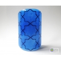 Breath of the Compassionate - sacred geometry pattern sconce - curved fused glass screen - Blue blends