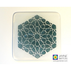 Alhambra Stars Coaster, fused glass, white blended background, sacred geometry, meditation, fused glass, Islamic Art, Sufi design, geometric