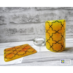 Gift set, Orange blue geometric pattern sconce and coaster, light and candle screen, fused glass, Breath of Compassionate, sacred geometry