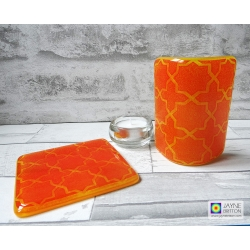 Gift set, Orange geometric pattern sconce and coaster, light and candle screen, fused glass, Breath of the Compassionate, sacred geometry