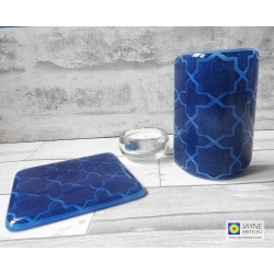 Gift set, Deep Blue Geometric pattern sconce and coaster, light and candle screen, fused glass, Breath of the Compassionate, sacred geometry