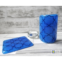 Home set, Blue Geometric pattern sconce and coaster, light and candle screen, fused glass, Breath of the Compassionate, sacred geometry