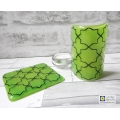 Gift set, Green Geometric pattern sconce and coaster, light and candle screen, fused glass, Breath of the Compassionate, sacred geometry
