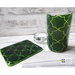 Gift set, Blue & Green Geometric pattern sconce and coaster, curved candle screen, fused glass, Breath of the Compassionate, sacred geometry