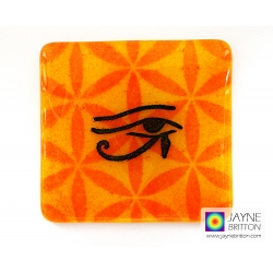 Eye of Horus with Flower of Life coaster, yellow orange blue, fused glass, spiritual home decor gift, sacred geometry, ancient pattern