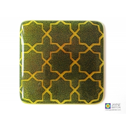 Geometric pattern coaster, indigo blue on yellow and orange blend, fused glass, Breath Compassionate, sacred geometry, new home gift, couple
