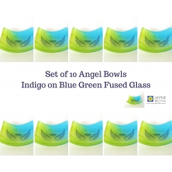Pack of ten Angel bowls in blue and green glass