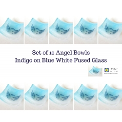 Pack of ten Angel bowls in blue and white glass
